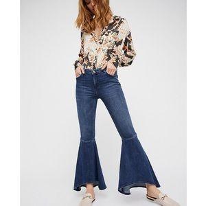 Free People Ruffle Denim Flare Jeans